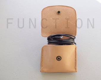 Leather Phone Charger Case, Tech Accessories, Nude Leather Case, Minimalist Case, Tech Storage Solutions, Hand Stitched Veg Tan Leather