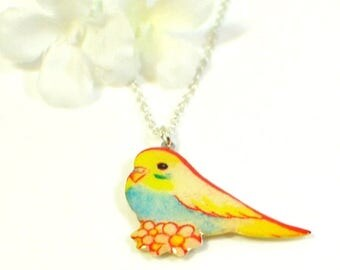 Bird Necklace Tweetie  - Canary Pendant - Bird Jewelry - Blue and Yellow Parakeet Jewelry - Budgie Necklace - Parakeet Pendant