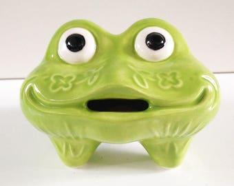 Ceramic Frog Bank, Frog Piggy Bank, Coin Bank, MCM, Green Frog, Money Box, Feng Shui Frog, Money Toad, Three Legged Frog, Good Luck Frog