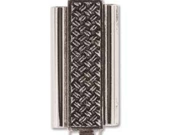Elegant Elements Beadslide Clasp, Crosshatch, 10mm x 24mm, Antique Silver or Antique Gold