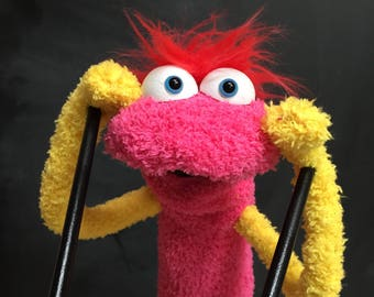 Sock Puppet Creature, Hand and Rod Puppet, Pink Puppet, Red Hair, Arm Rods, Lots of Personality