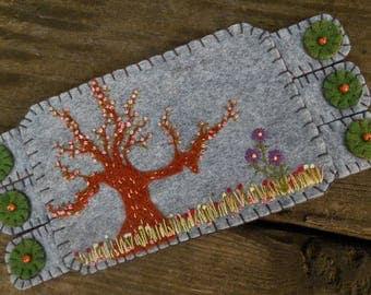 Flower Fiber Art, Flower Embroidery, Cherry Tree Art,  Coffee Coaster, Mug Rug, Landscape art