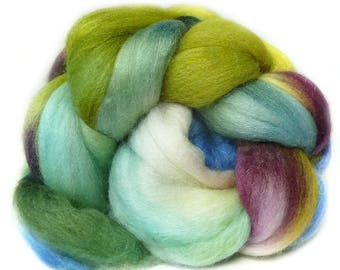 MERINO SILK BAMBOo roving top handdyed spinning fibre 3.7 oz