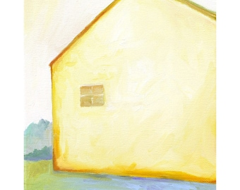 Yellow House With Blue Shadow