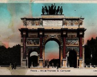 Arc de Triomphe du Carrousel + Lader 48 + Paris, France + Vintage Postcard