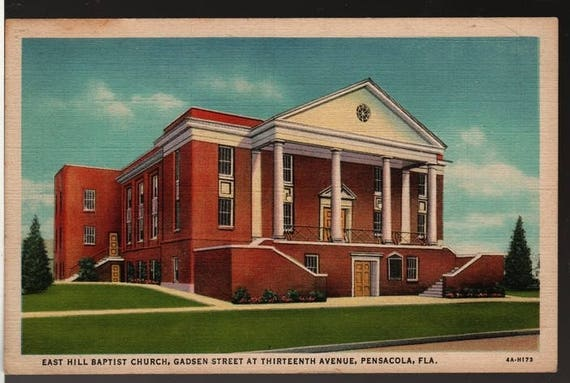 East Hill Baptist Church – Pensacola, Florida – Vintage Curteich Postcard