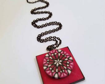 Christmas Necklace, Red Jewelry, Everyday Jewelry, Wearable Art, Geometric Design, Handmade Artisan Polymer Clay, Red White Black