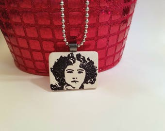 SALE Black and White Face Necklace, Face Jewelry, Girl with Curly Black Hair, Stamped Ink Pendant, handmade polymer clay