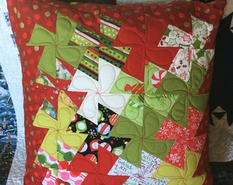 Quilted Pillow Cover for Christmas  - 18 inch handmade patchwork holiday pillow cover in fun red and green novelty prints