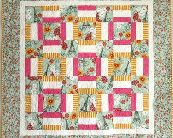 Window Box Quilt Pattern, 48 x 48, Beginner, Easy Fast to make, Strip pieced quilt pattern, pdf download instructions, QuiltsyDestashParty,