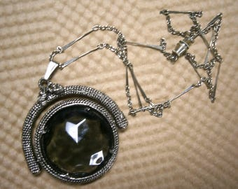 Vintage Granulated Silvertone Necklace Smoky Quartz with Chain, Vintage Jewelry