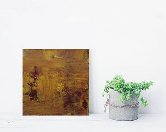 """ORIGINAL Abstract Painting """"Mustard"""" by Lisa Carney, Textured Acrylic, Modern Abstract, Minimalist Painting, Reductive Art, Small Abstract"""