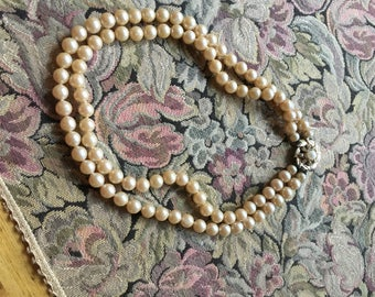 Vintage Necklace - Two Strand Necklace, Pearl or Glass Round Beads, Cream Pink Tone, Choker Jewelry