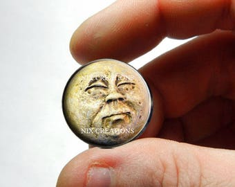 Moon Face Glass Cabochon - Design 1 - for Jewelry and Pendant Making