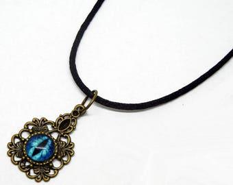 Eye Pendant Glass Dragon Eye Jewelry Blue Dragon Eye Antiqued Brass Filigree Pendant with Necklace