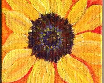 Sunflowers acrylic painting mini canvas art Original, easel, Small Yellow, Orange sunflowers painting, sunflowers floral decor