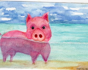 Original Pig watercolor painting original, cute piggy swimming, watercolor painting of pig, Pink Pig Art, pig in ocean