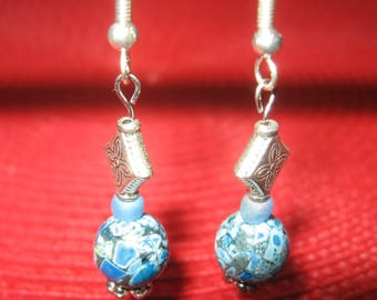 Blue Ceramic and Silvertone earrings