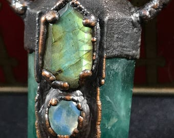 The meadow, green fluorite, labradorite and rainbow moonstone in electroformed copper