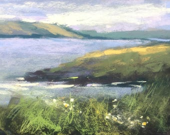 IRELAND Seashore Wildflowers plein air  Landscape Original Pastel Painting Karen Margulis 5x7