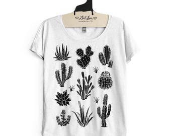 Medium-  Tri-Blend Heather White Dolman Tee with Cactus Screen Print