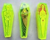 Neon green acrylic Coffin Pin