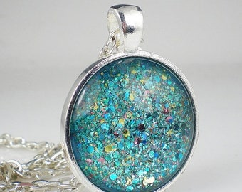 SUMMER SALE Aqua Turquoise Glitter Nail Polish Necklace Jewelry Nail Polish