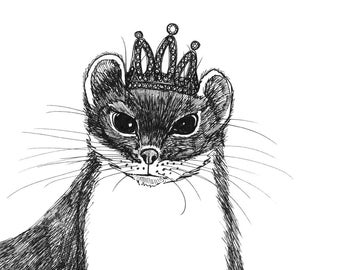 Flapper Weasel in a Glittering Crown ORIGINAL ink drawing on paper 5 x 5