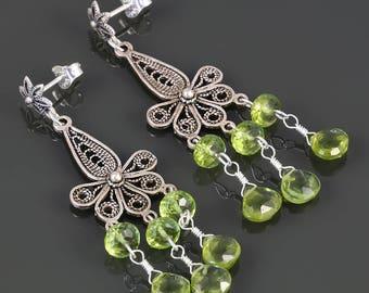 Peridot Chandelier Earrings. Sterling Silver. Turkish Filigree. Genuine Gemstone. August Birthstone. f17e001