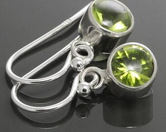 Peridot Drop Earrings. Sterling Silver. Genuine Gemstone. August Birthstone. Tube Settings. 6mm Round. f14e004
