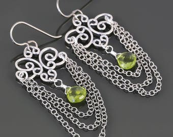 Peridot Chandelier Earrings. Sterling Silver Chains. Titanium Ear Wires. August Birthstone. Genuine Gemstone. f17e008