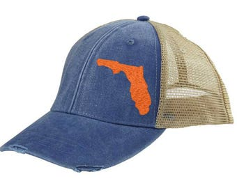 Distressed Snapback Trucker Hat -  Florida off-center state pride hat - Many Colors available