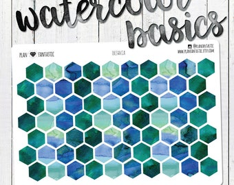 Watercolor Honeycomb Dot Stickers - Aqua Turquoise Dots - Planner Stickers