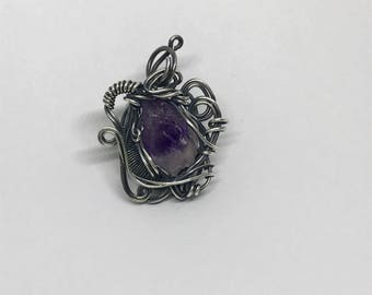 Natural Amethyst & Silver Wire Wrapped Pendant Necklace