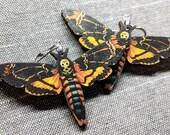 Moth Earrings / Laser Cut Wood Earrings / Death Moth Earrings / Stainless Steel / Hypoallergenic / Insect Earrings / Bug Earrings