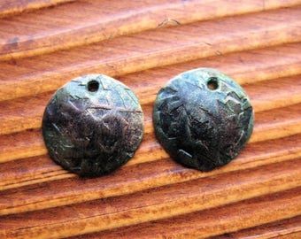Mini Moon Charms in Indigo Chestnut Aluminum - 1 pair - 16mm - Single Hole Charms
