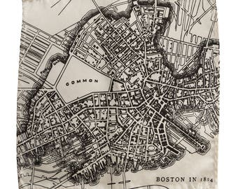 Boston Map Pocket Square, 1814 old map print. Boston Massachusetts gift. Screen printed men's handkerchief. Choose navy, platinum & more.