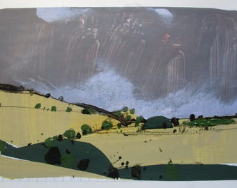 October Field, Original Fall Landscape Collage Painting on Paper, Stooshinoff