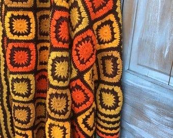 40% OFF- Vintage Afghan Blanket-Retro Seventies-Granny Square