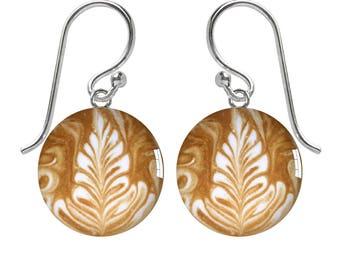 Coffee Art Sterling Silver Meniscus Earrings