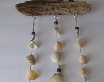 Beach Shells and Driftwood Wind Chime Mobile, Mothers Day Idea, Grandma Nanna Gift, Summer Beach Housewarming, Coastal Decor, Island Style