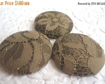 CLEARANCE - Olive green buttons, lace buttons, covered buttons,  size 60 buttons, shank buttons, price per button