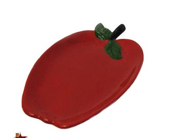 Perfect Red Apple Ceramic Spoon Rest For Kitchen Counter Cook Tops and Stoves