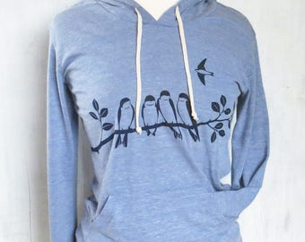 Clothing Gift, Womens Lightweight Graphic Hoodie, Barn Swallows Womens Long Sleeve Shirt, Womens Sweatshirt, Ladies Sweatshirt, Blue Shirt