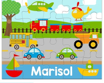 Personalized Puzzle for Kids - Transportation Puzzle - Jigsaw Puzzle with Child's Name, 20 pieces, 8 x 10 inches, plane, cars, boats, truck