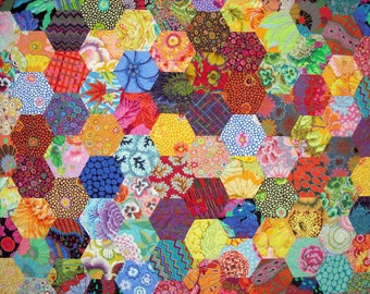 Patchwork Lap Quilt -  Kaffe Fassett Quilt -  Hexagon Quilt - Throw Quilt