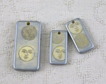 Scrabble tiles - Sun and moon - set of three - Pendant and two earring size pieces