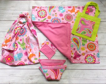 Baby Doll Care Set - Doll Ring Sling - Baby Doll Cloth Diaper - Doll Blanket - Doll Diaper Bag - Doll Baby Wipes - Doll Sling - Woodland