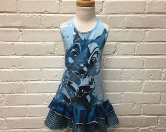 Little girls blue ruffled halter dress. Size 2 3 4 5 or 6. recycled upcycled childrens