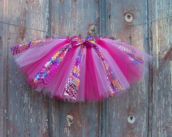 Size 2T-6 Pink and Metallic multi-color Tutu with Matching Hair Bow